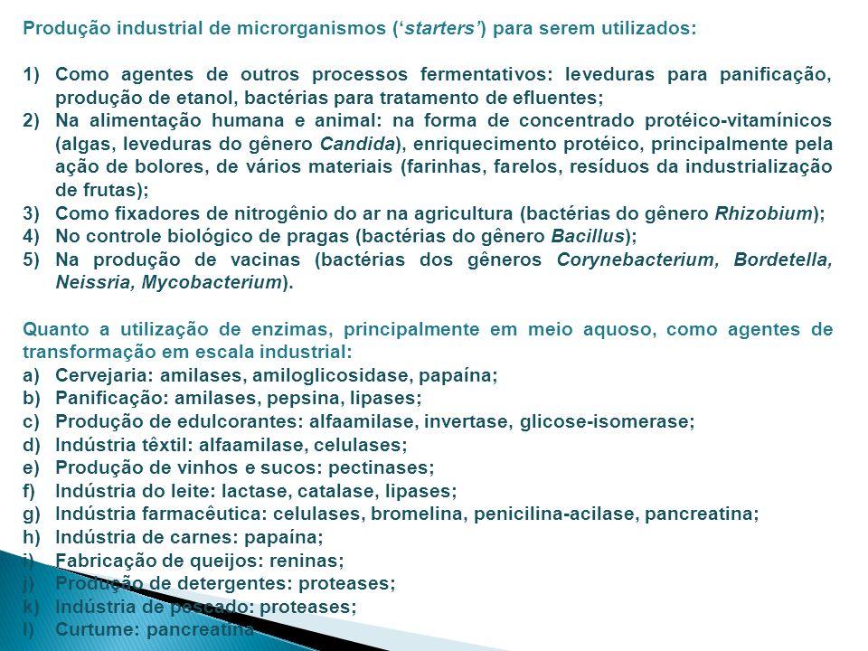 Produção industrial de microrganismos ('starters') para serem utilizados: