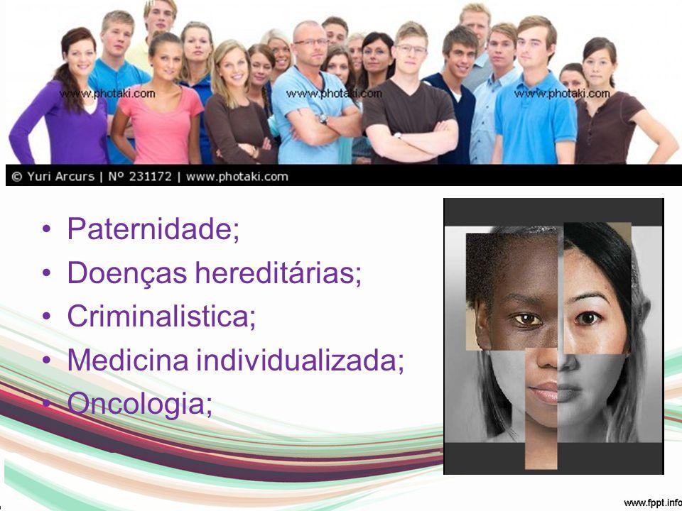 Em Humanos: Paternidade; Doenças hereditárias; Criminalistica;