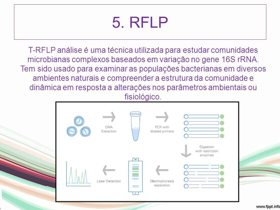 5. RFLP T-RFLP análise é uma técnica utilizada para estudar comunidades microbianas complexos baseados em variação no gene 16S rRNA.