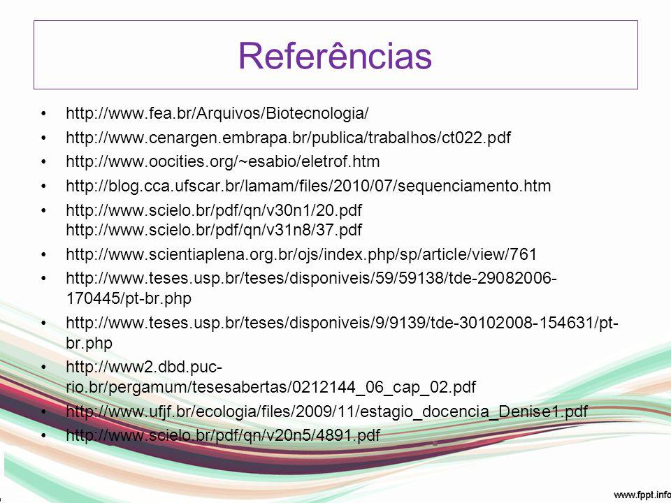 Referências http://www.fea.br/Arquivos/Biotecnologia/