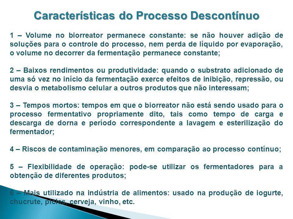 Características do Processo Descontínuo