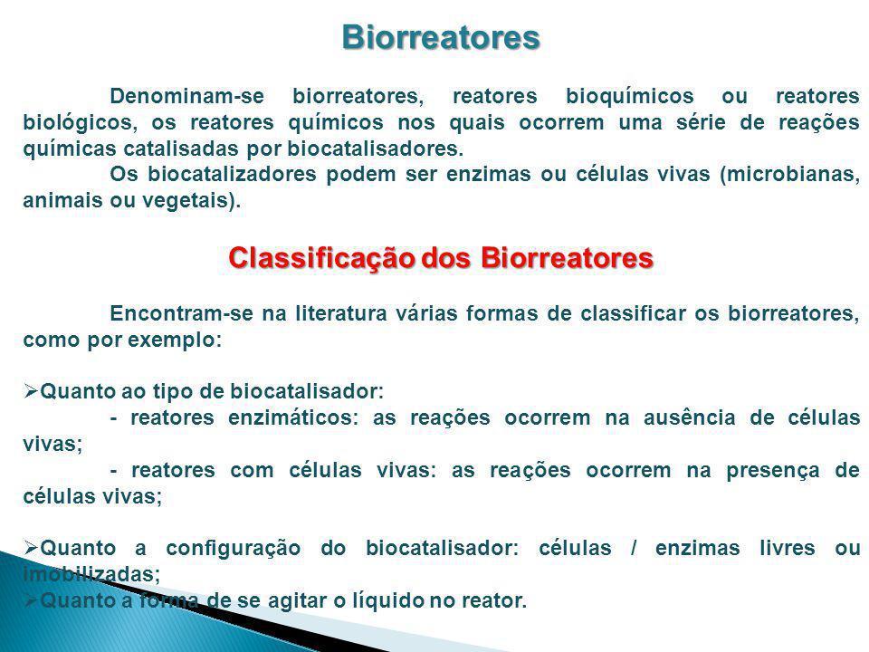Classificação dos Biorreatores