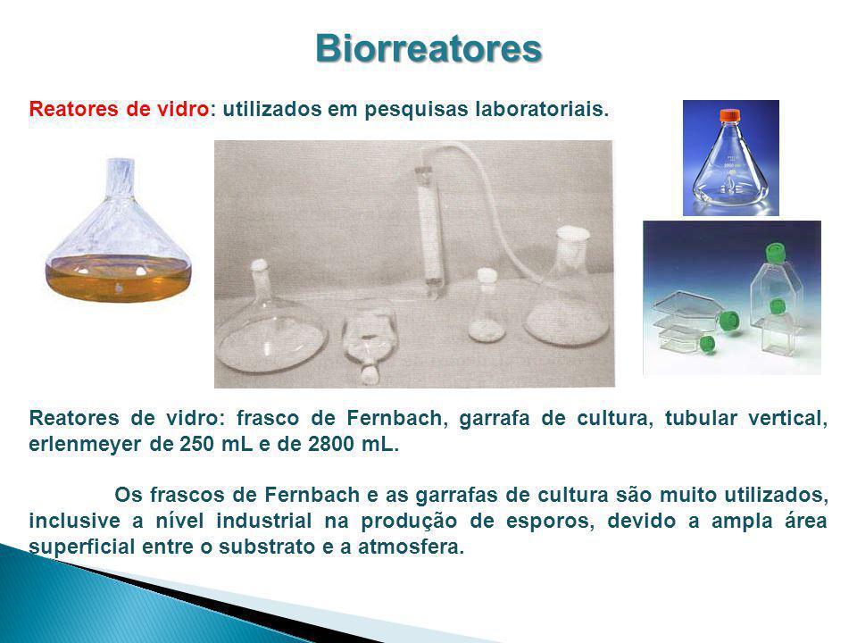 Biorreatores Reatores de vidro: utilizados em pesquisas laboratoriais.