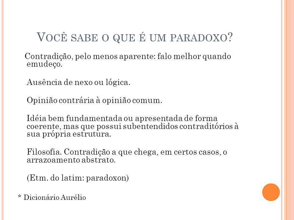 Você sabe o que é um paradoxo