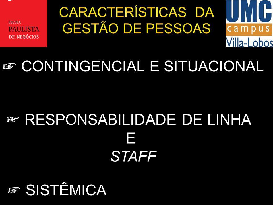 CARACTERÍSTICAS DA GESTÃO DE PESSOAS