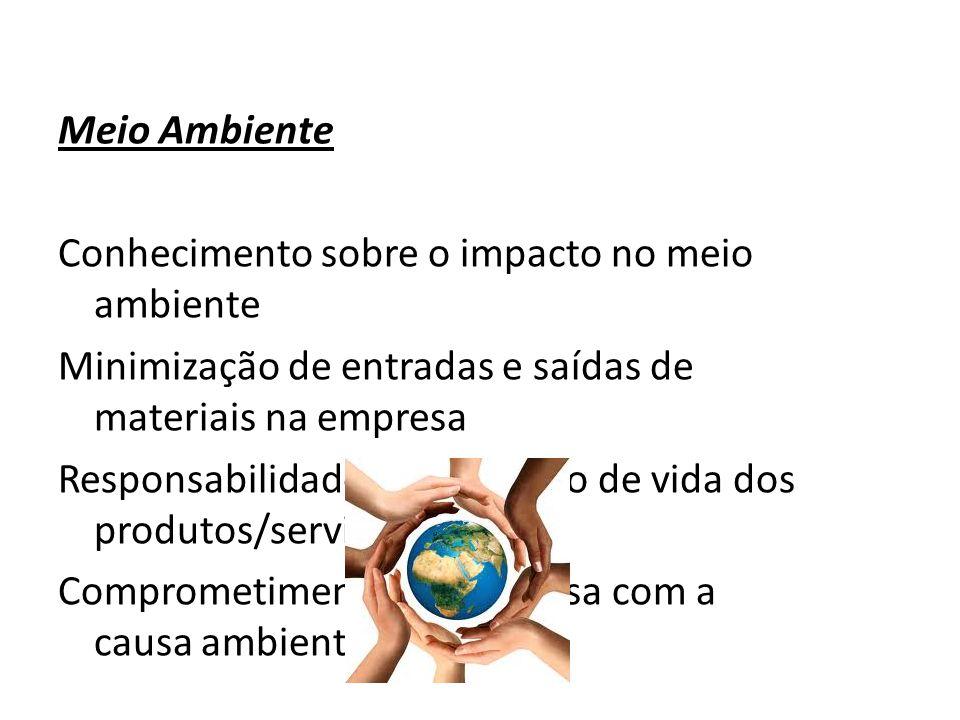 Meio Ambiente Conhecimento sobre o impacto no meio ambiente Minimização de entradas e saídas de materiais na empresa Responsabilidade sobre o ciclo de vida dos produtos/serviço Comprometimento da empresa com a causa ambiental