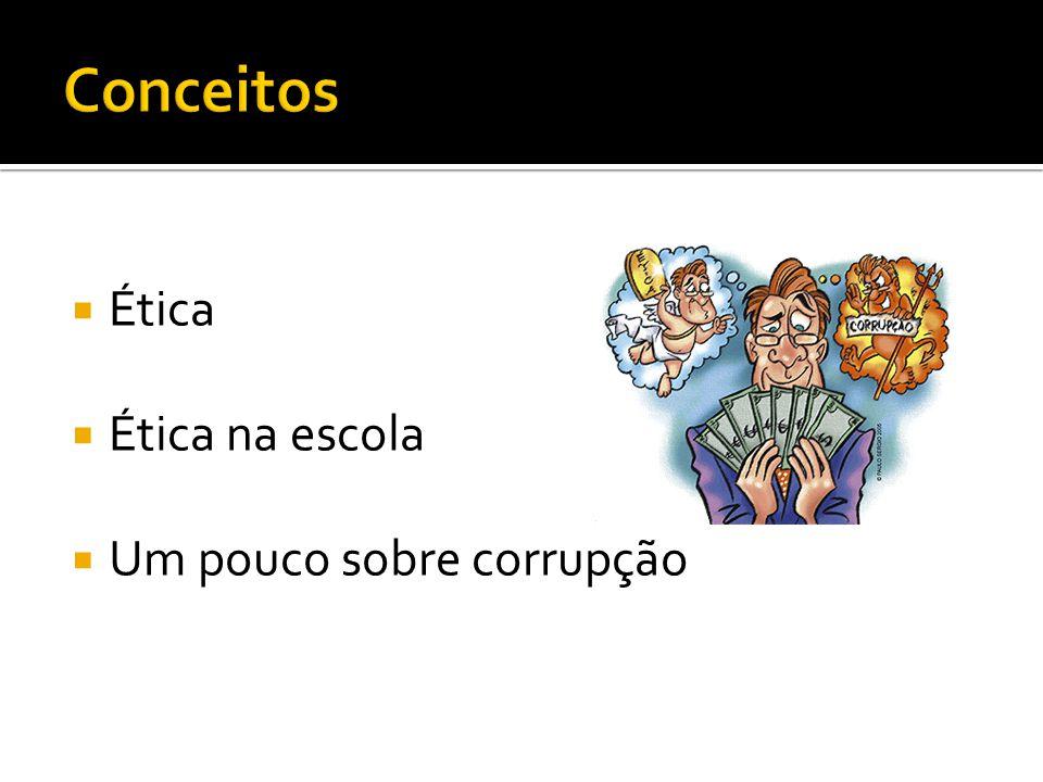 Conceitos Ética Ética na escola Um pouco sobre corrupção