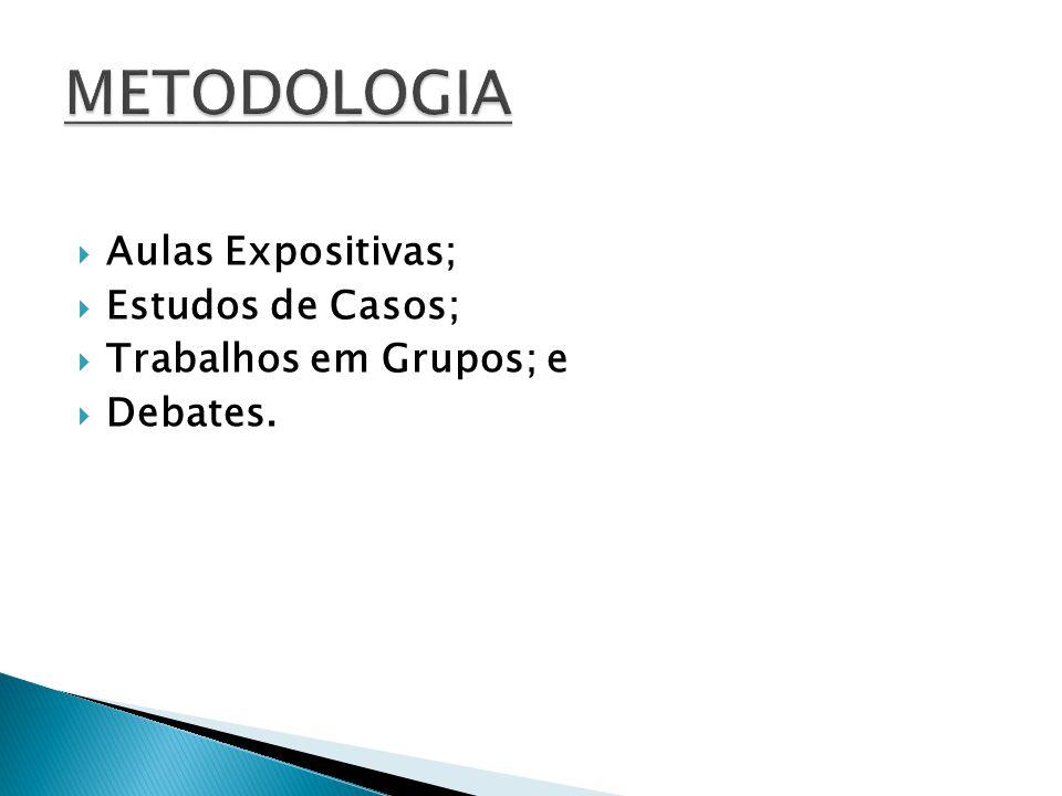 METODOLOGIA Aulas Expositivas; Estudos de Casos;
