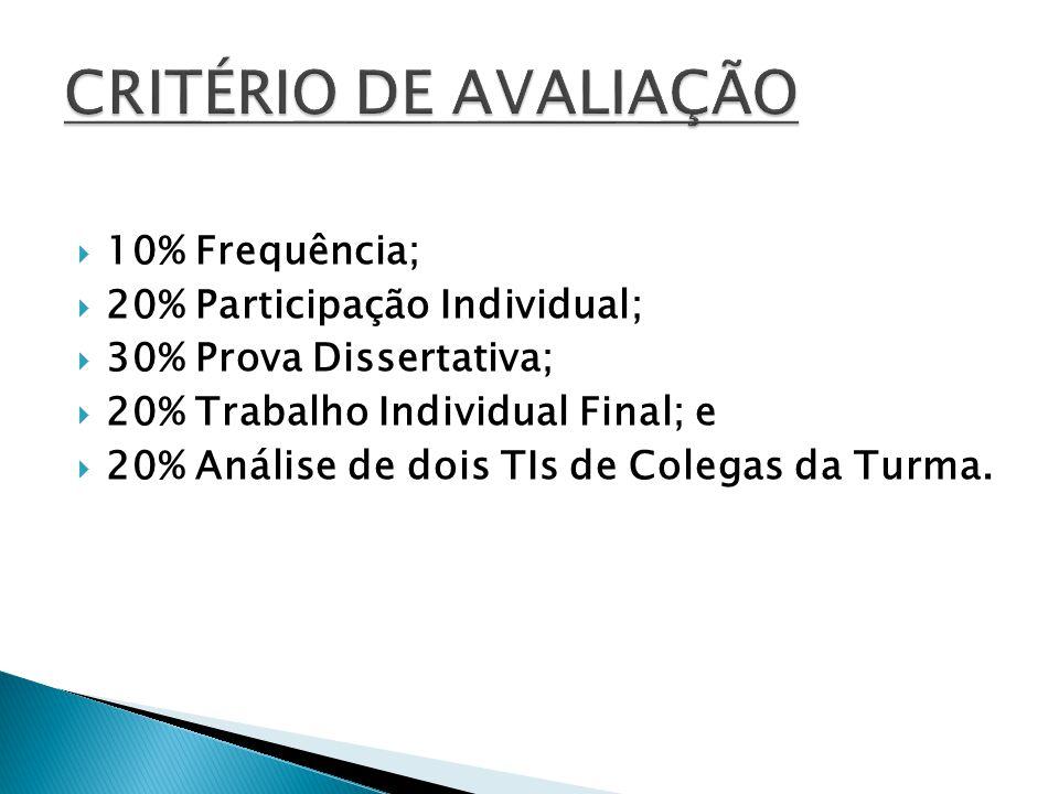 CRITÉRIO DE AVALIAÇÃO 10% Frequência; 20% Participação Individual;