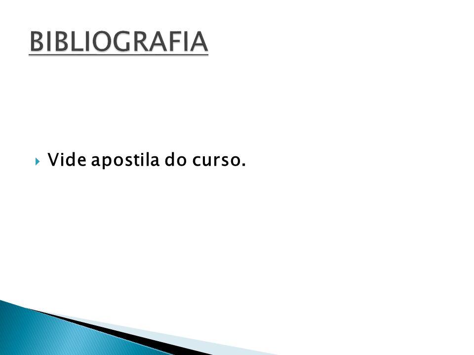 BIBLIOGRAFIA Vide apostila do curso.