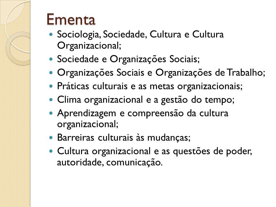 Ementa Sociologia, Sociedade, Cultura e Cultura Organizacional;