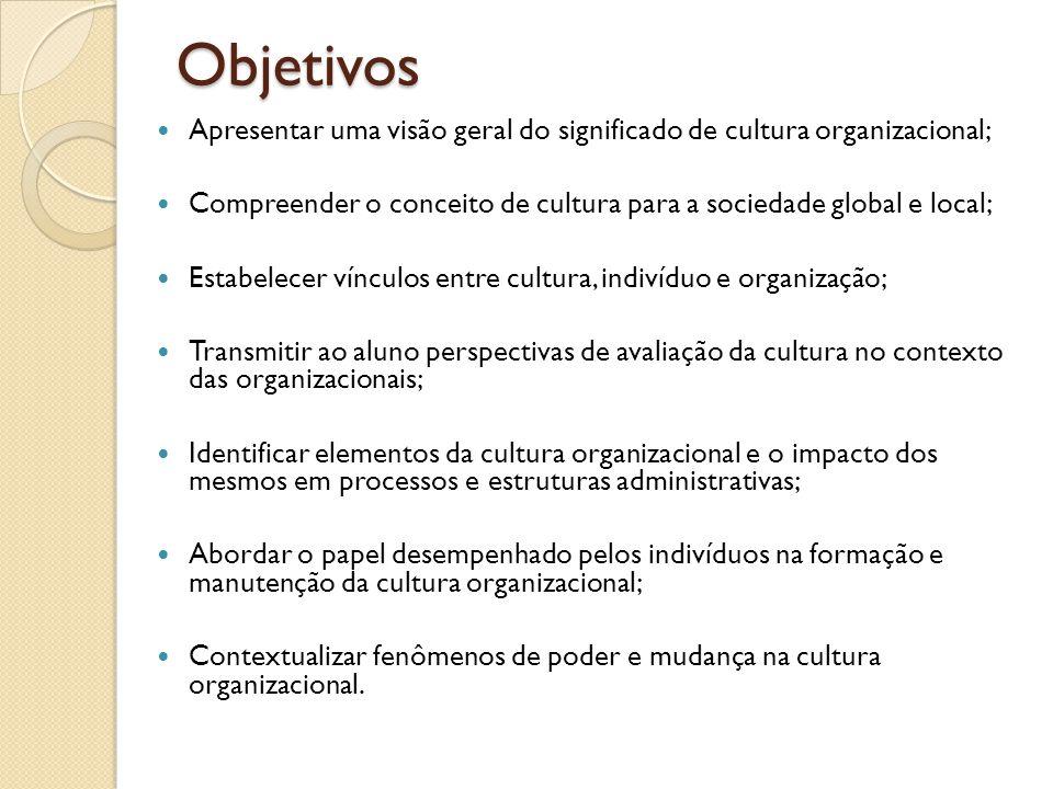 Objetivos Apresentar uma visão geral do significado de cultura organizacional; Compreender o conceito de cultura para a sociedade global e local;