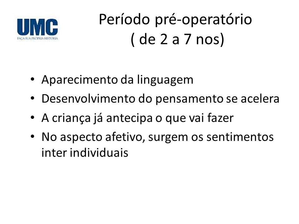 Período pré-operatório ( de 2 a 7 nos)