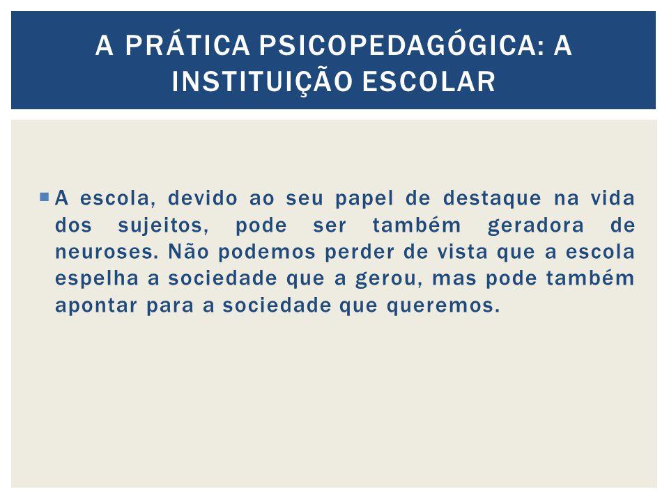A prática psicopedagógica: A instituição escolar