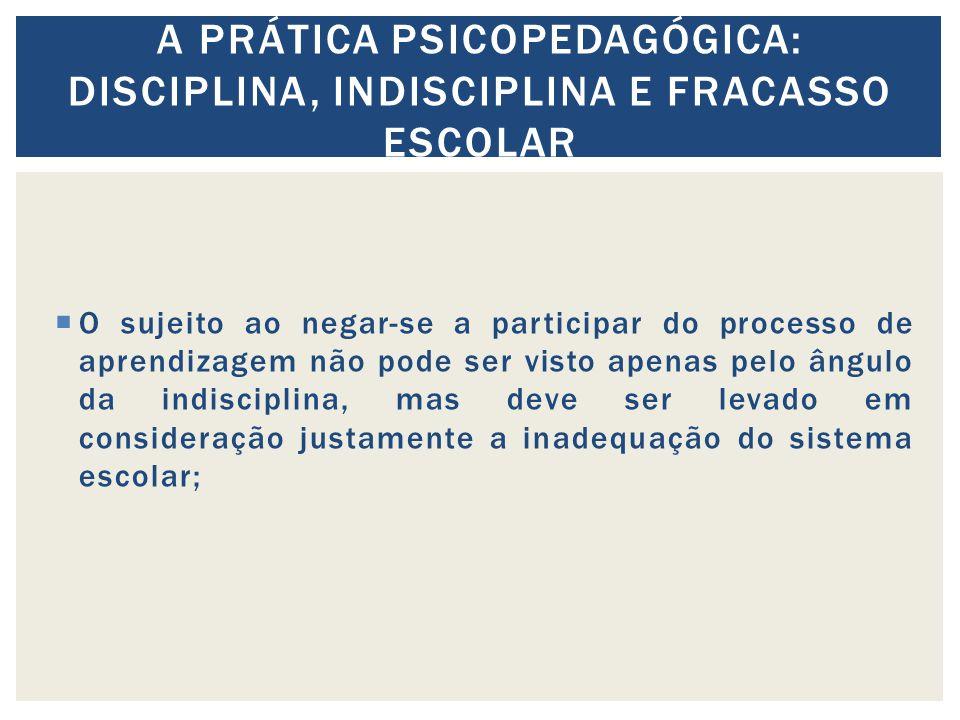 A prática psicopedagógica: Disciplina, indisciplina e fracasso escolar