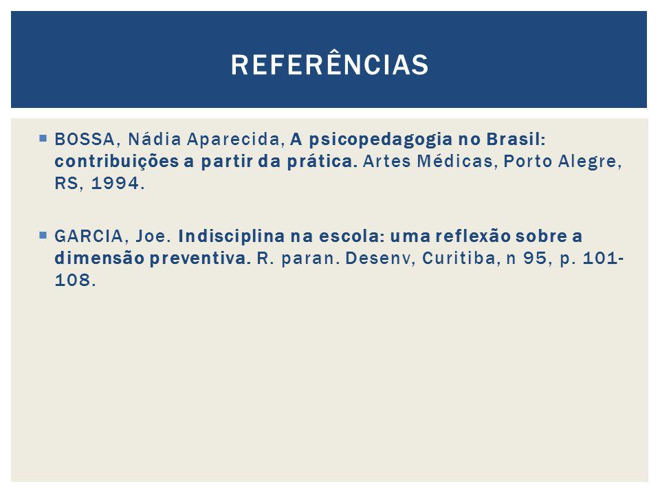 REFERÊNCIAS BOSSA, Nádia Aparecida, A psicopedagogia no Brasil: contribuições a partir da prática. Artes Médicas, Porto Alegre, RS, 1994.