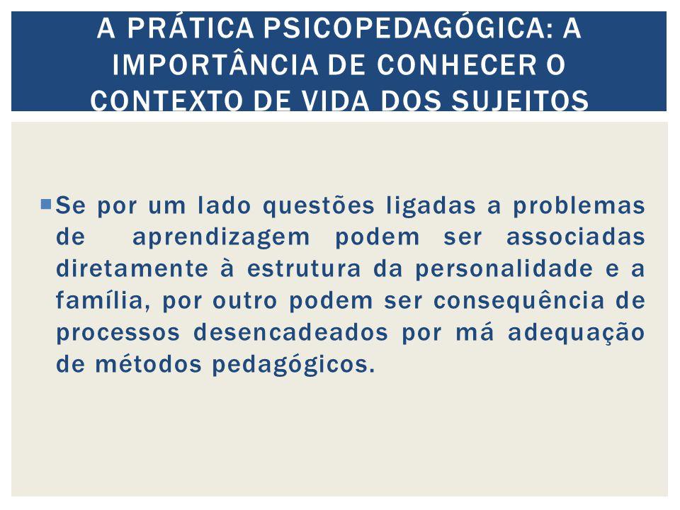A prática psicopedagógica: a importância de conhecer o contexto de vida dos sujeitos