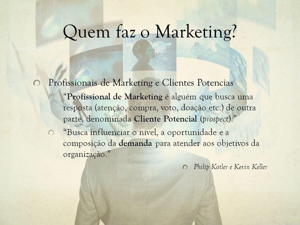 Quem faz o Marketing Profissionais de Marketing e Clientes Potencias