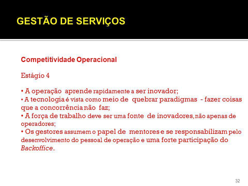 GESTÃO DE SERVIÇOS Competitividade Operacional Estágio 4