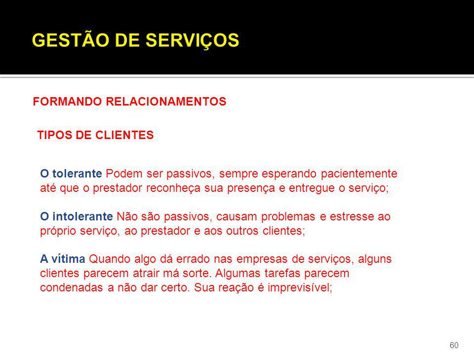 GESTÃO DE SERVIÇOS FORMANDO RELACIONAMENTOS TIPOS DE CLIENTES
