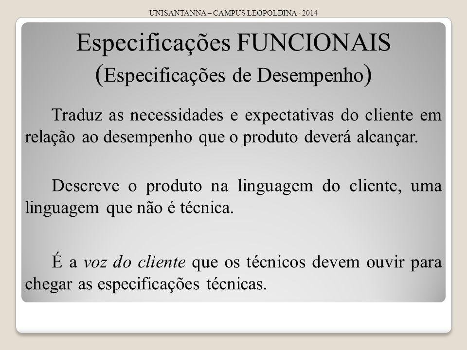 Especificações FUNCIONAIS (Especificações de Desempenho)