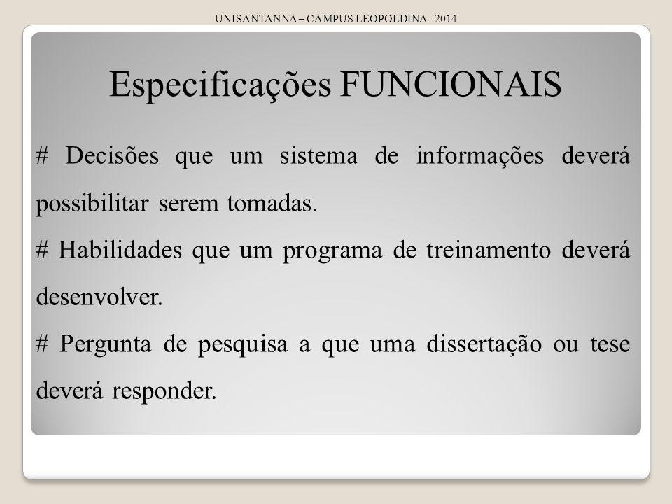 Especificações FUNCIONAIS
