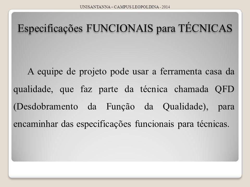 Especificações FUNCIONAIS para TÉCNICAS