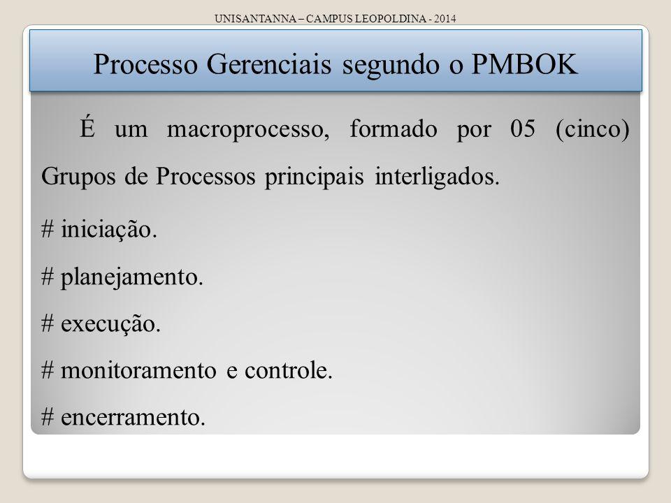 Processo Gerenciais segundo o PMBOK