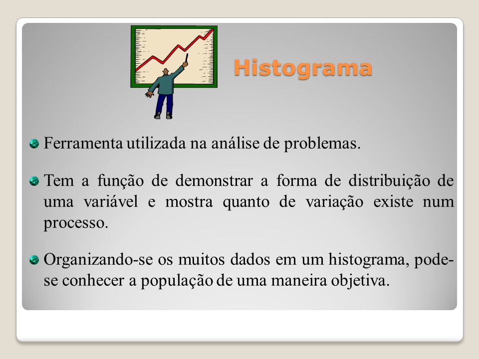 Histograma Ferramenta utilizada na análise de problemas.