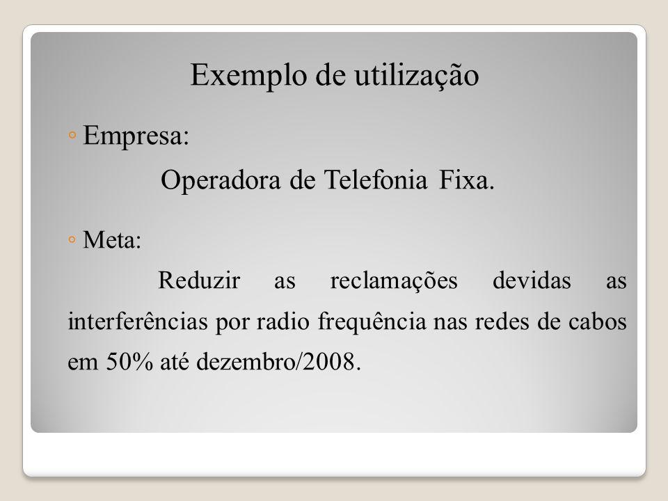 Exemplo de utilização Empresa: Operadora de Telefonia Fixa. Meta: