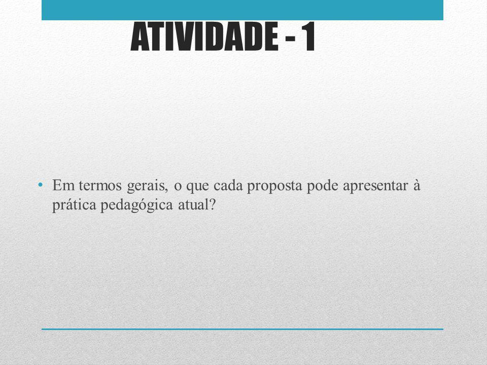 ATIVIDADE - 1 Em termos gerais, o que cada proposta pode apresentar à prática pedagógica atual