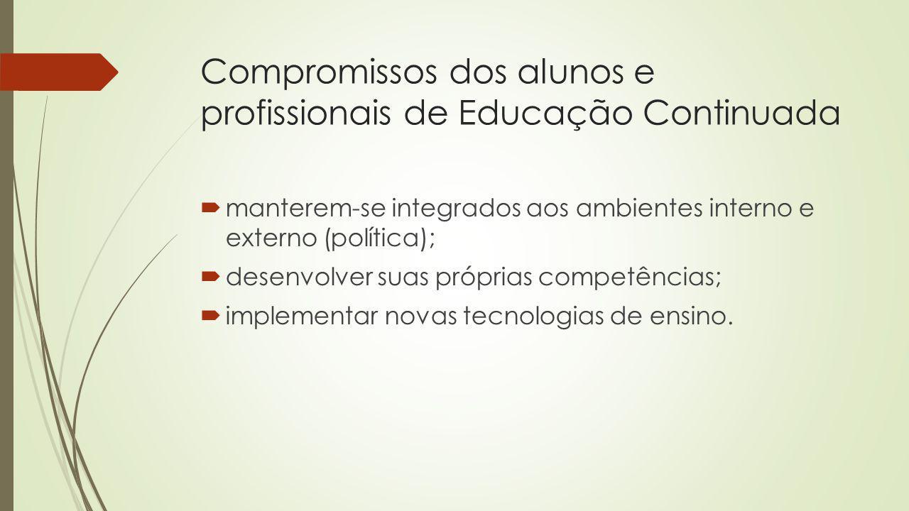 Compromissos dos alunos e profissionais de Educação Continuada