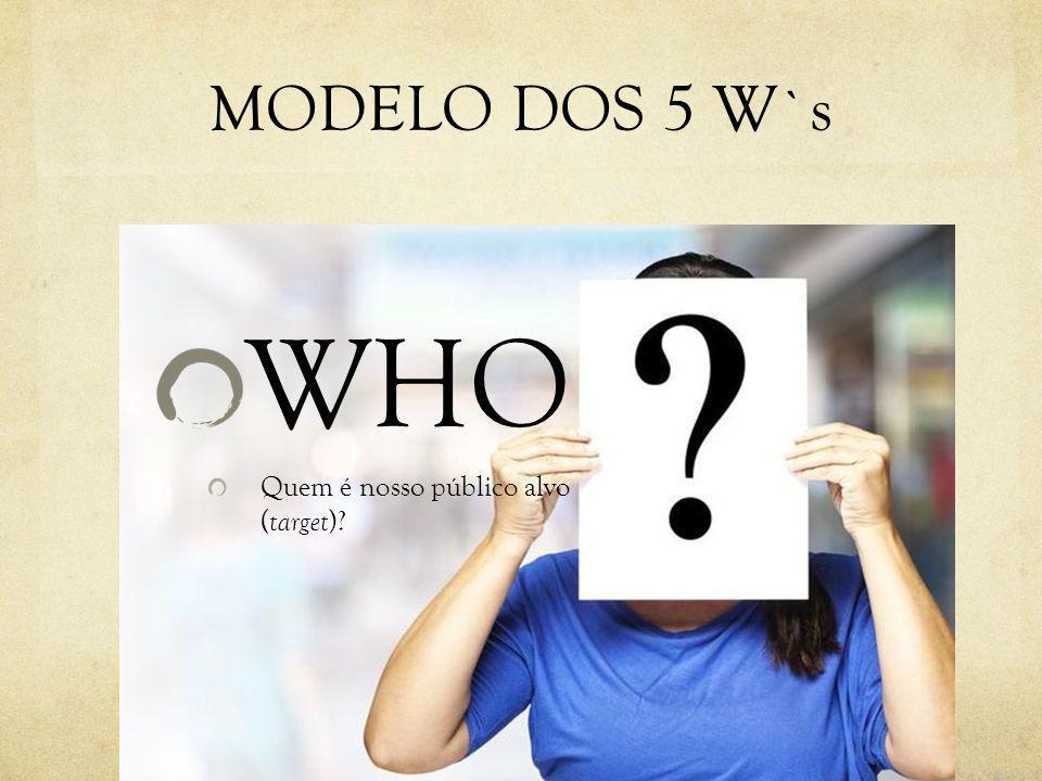 MODELO DOS 5 W`s WHO Quem é nosso público alvo (target)