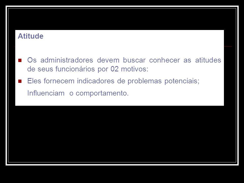 Atitude Os administradores devem buscar conhecer as atitudes de seus funcionários por 02 motivos: