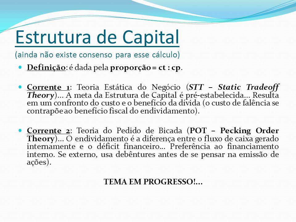 Estrutura de Capital (ainda não existe consenso para esse cálculo)
