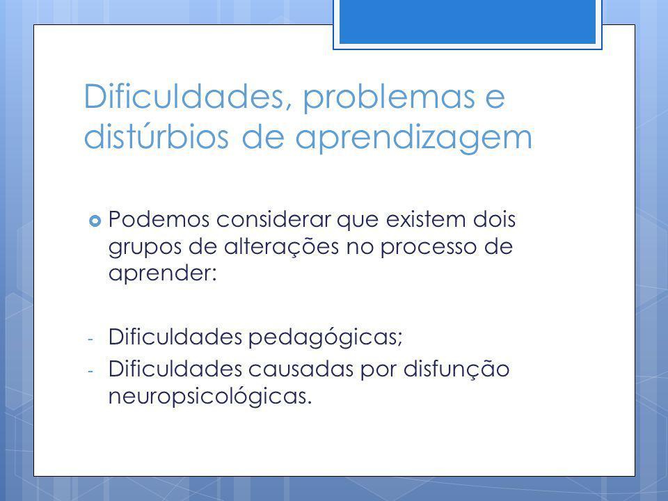 Dificuldades, problemas e distúrbios de aprendizagem