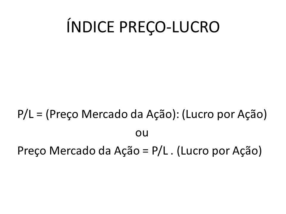 ÍNDICE PREÇO-LUCRO P/L = (Preço Mercado da Ação): (Lucro por Ação) ou Preço Mercado da Ação = P/L .
