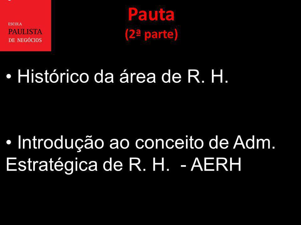 Pauta Histórico da área de R. H.