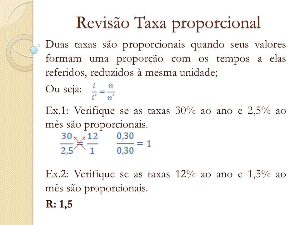 Revisão Taxa proporcional