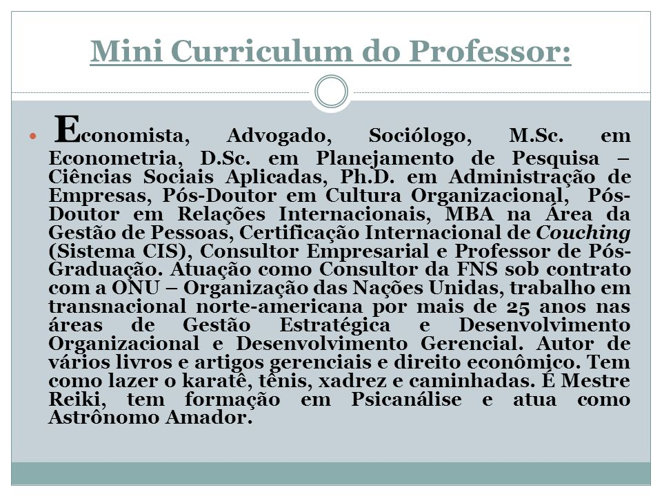 Mini Curriculum do Professor: