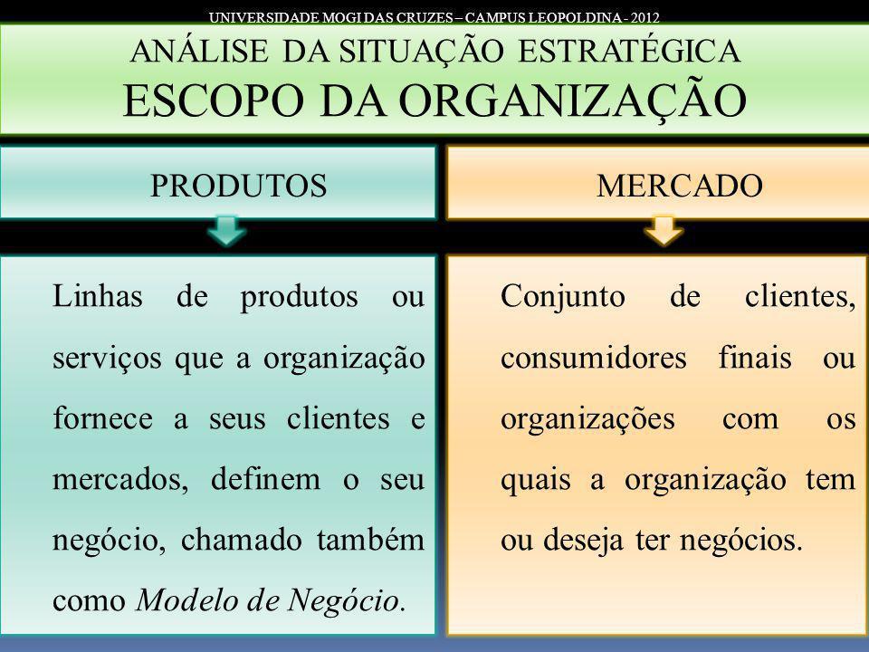 ESCOPO DA ORGANIZAÇÃO ANÁLISE DA SITUAÇÃO ESTRATÉGICA PRODUTOS MERCADO
