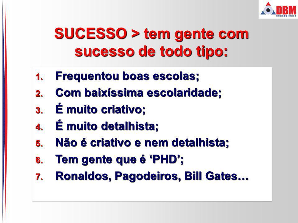 SUCESSO > tem gente com sucesso de todo tipo: