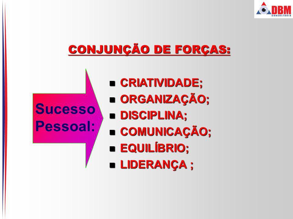 Sucesso Pessoal: CONJUNÇÃO DE FORÇAS: CRIATIVIDADE; ORGANIZAÇÃO;