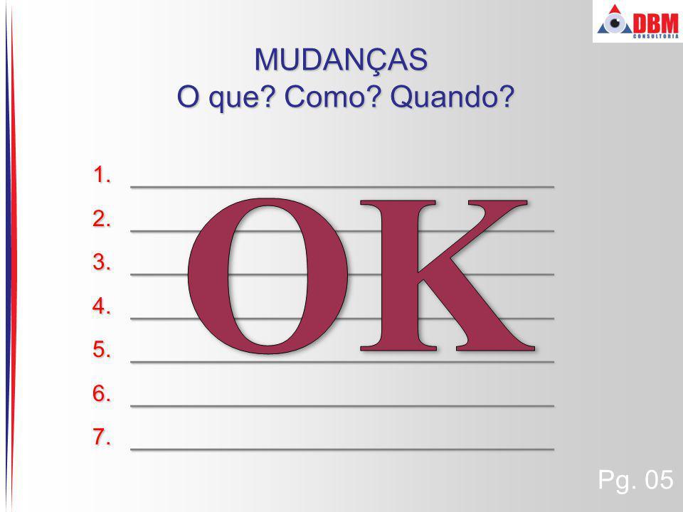 MUDANÇAS O que Como Quando OK _________________________ Pg. 05