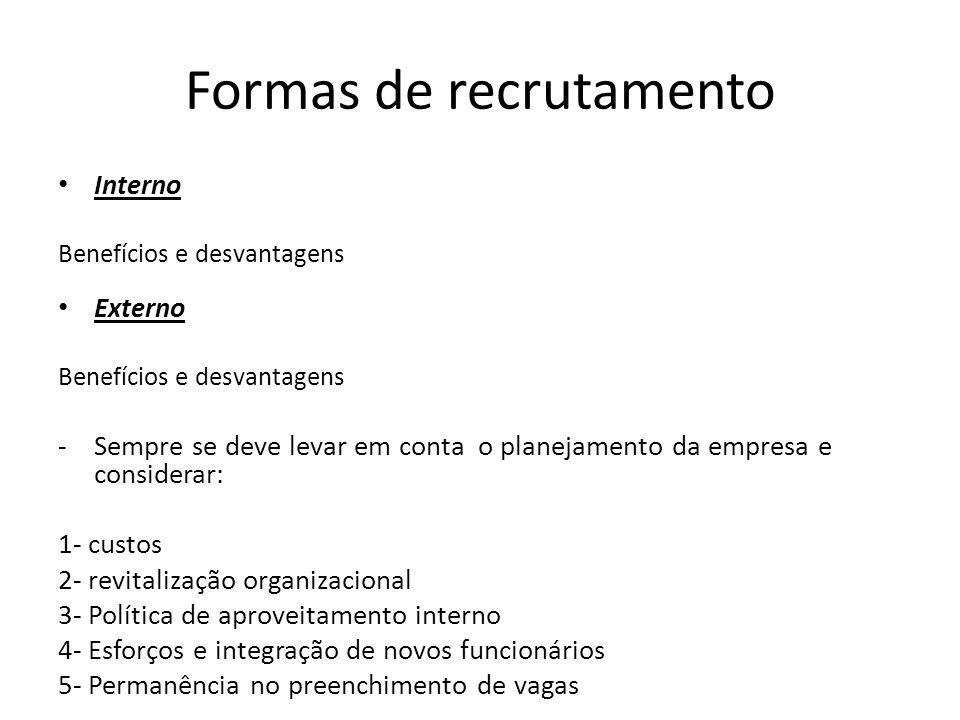 Formas de recrutamento