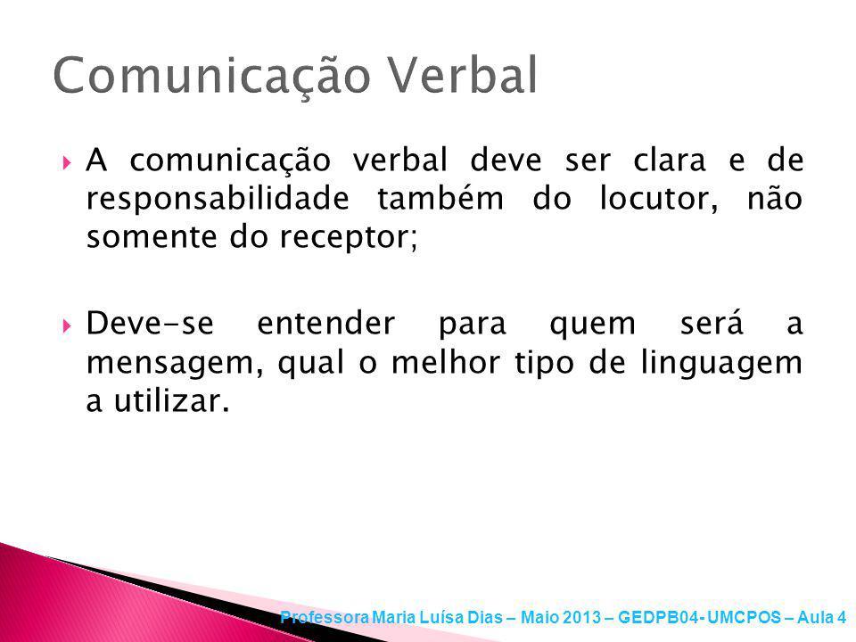Comunicação Verbal A comunicação verbal deve ser clara e de responsabilidade também do locutor, não somente do receptor;