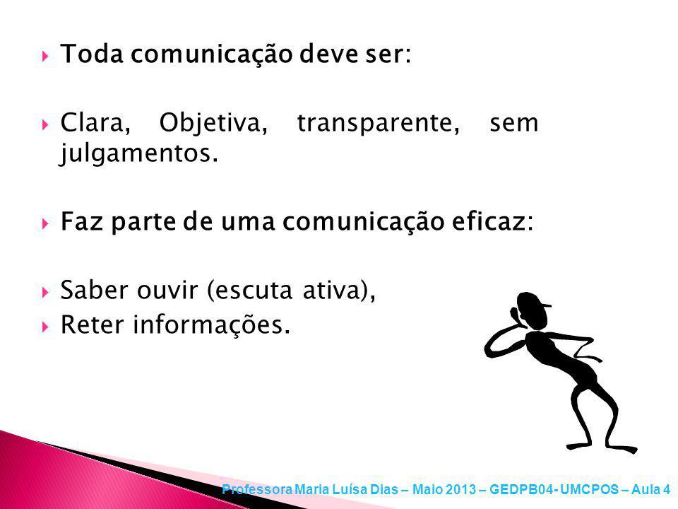 Toda comunicação deve ser:
