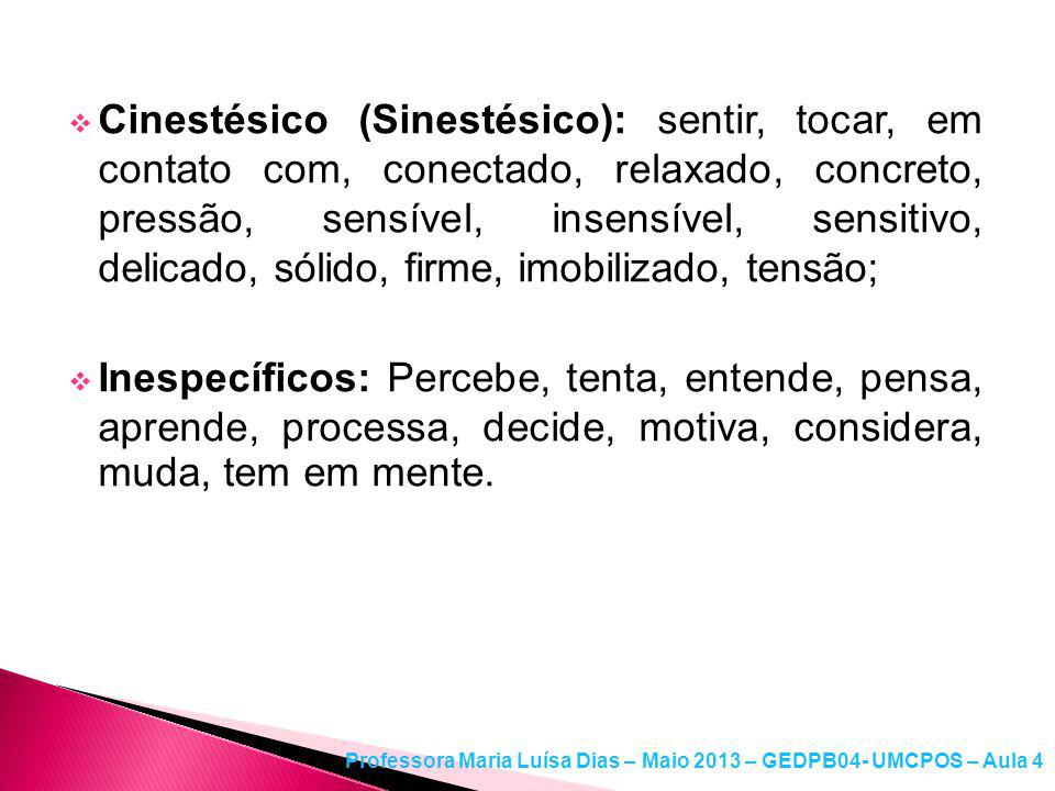 Cinestésico (Sinestésico): sentir, tocar, em contato com, conectado, relaxado, concreto, pressão, sensível, insensível, sensitivo, delicado, sólido, firme, imobilizado, tensão;