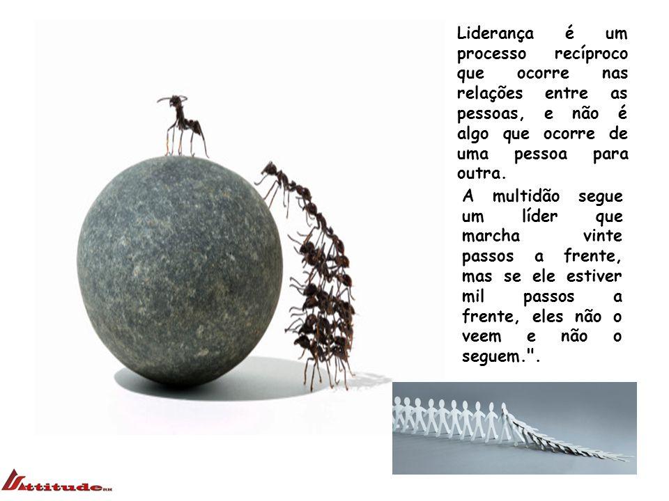 Liderança é um processo recíproco que ocorre nas relações entre as pessoas, e não é algo que ocorre de uma pessoa para outra.