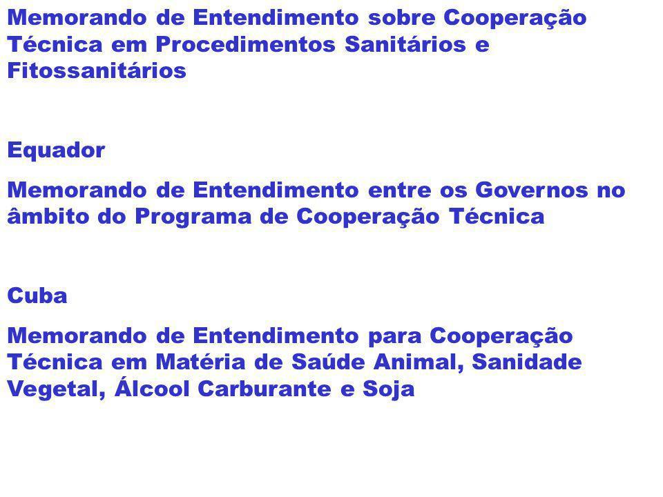Memorando de Entendimento sobre Cooperação Técnica em Procedimentos Sanitários e Fitossanitários